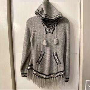 Sweaters - Alpaca Aztec Knit Hooded Fringe Sweater w/ Pockets